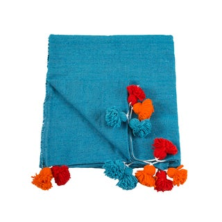 Moroccan Turquoise Pom Pom Queen Size Blanket