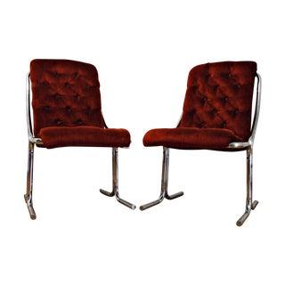 Mid-Century Daystrom Velvet & Chrome Lounge Chairs