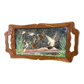 Vintage Mexican Folk Art Bird Motif Tray