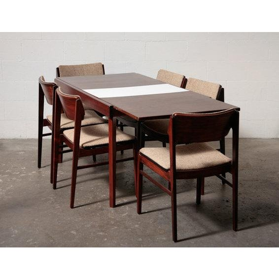 Mid-Century Rosewood Table With White Leaf - Image 6 of 8