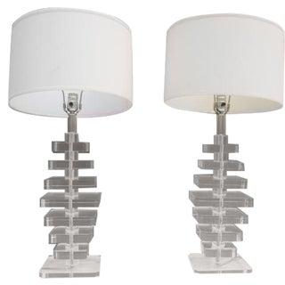 Karl Springer Style Stacked Vintage Table Lamp