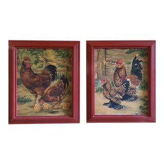 Vintage 1952 Chicken Paintings - A Pair