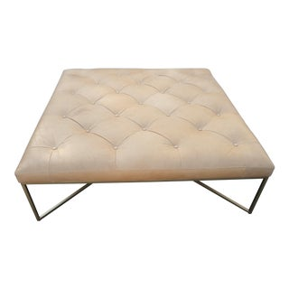Tufted Square Charme Tan Leather Ottoman W/ Gold Legs