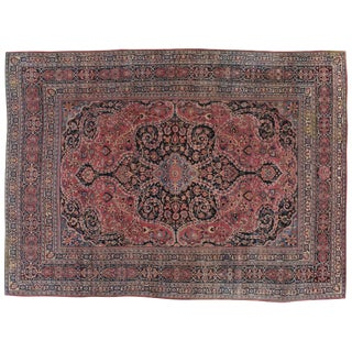 "Antique Persian Mashad Distressed Rug - 4'6"" X 6'8"""