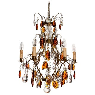 Baroque Cognac 6 Arm Electrical Candle Chandelier