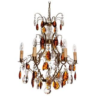 Baroque Cognac 6 Arm Electrical Candle Chandelier