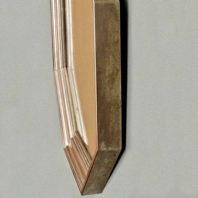 French Art Deco Metallic Octagonal Mirror - Image 5 of 7