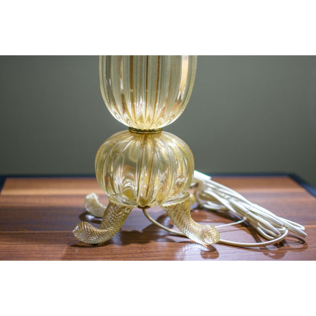 Vintage Gold Murano Glass Table Lamp - Image 6 of 7