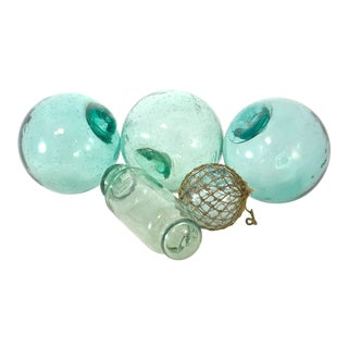 Blue Green Blown Glass Floats - Set of 5