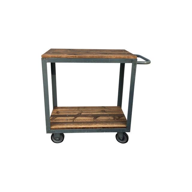 Vintage Industrial Metal & Wood Rolling Bar Cart - Image 1 of 4