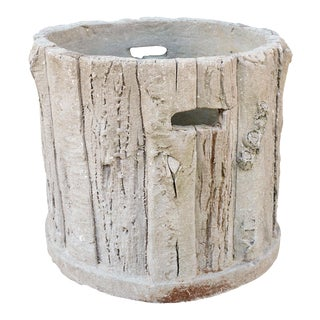 Vintage Concrete Faux Bois Round Planter from France
