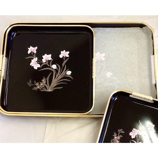 3 Mid-Mod Lacquerware Hand Decorated Trays-Unused - Image 7 of 7