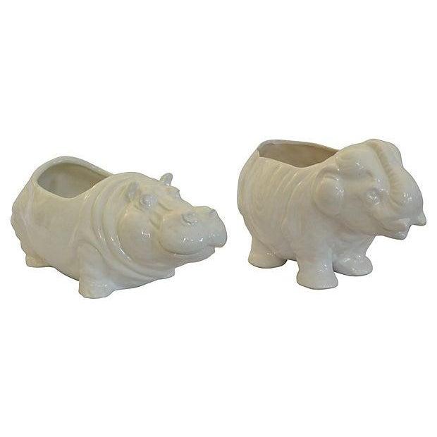 Elephant & Hippo Planters - Image 1 of 7
