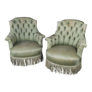 Pair of French 19th Century Tufted and Gendarme Backed Armchairs
