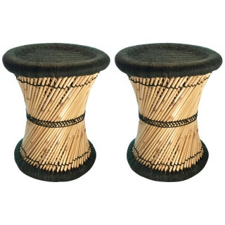 Natural Geo Moray Decorative Green Accent Stools - A Pair
