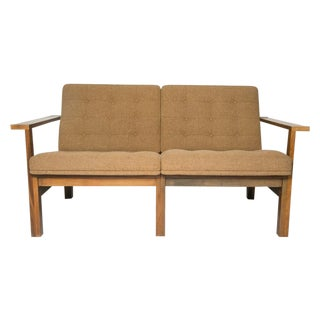Moduline Sofa Love Seat in Rosewood and Camel Wool