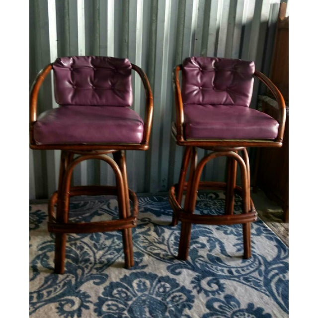 Vintage Purple Vinyl & Bamboo Bar Stools - A Pair - Image 2 of 5