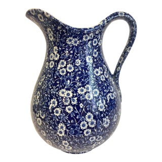 Staffordshire Calico Blue Pitcher