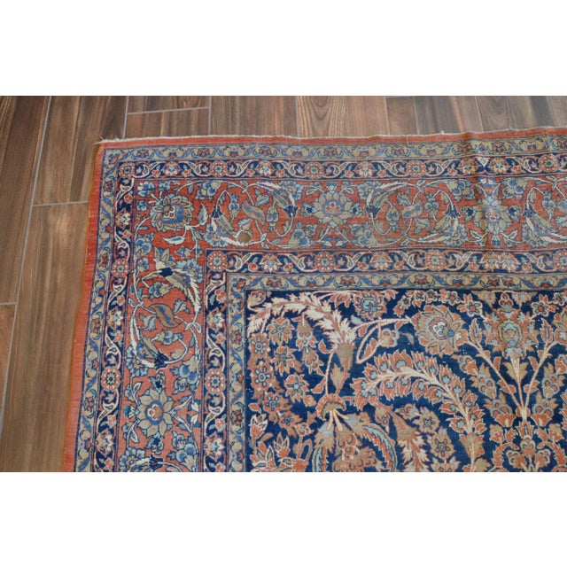 "Vintage Persian Sarouk Rug - 6'11"" X 10'11"" - Image 7 of 11"