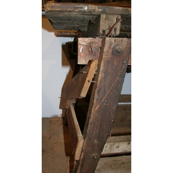 Antique Primitive Saw Table and Side Table - Image 2 of 6