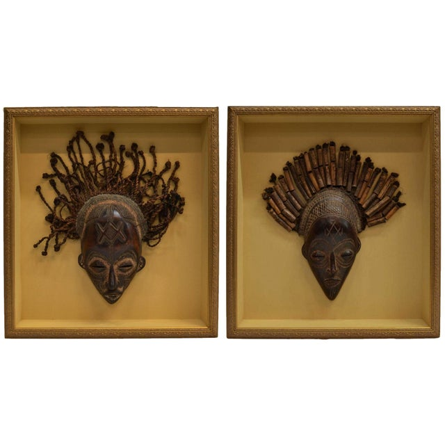 Image of Shadow Box Framed African Carved Masks - Pair