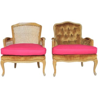 His & Hers Style Bergère Armchairs - A Pair