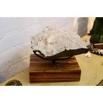 Image of Beautiful Piece of Quartz Crystal Mounted on a Custom Solid Zebra Wood Base