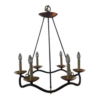 Visual Comfort 6 Light Brass and Iron Chandelier