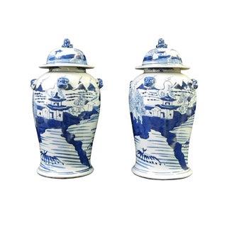 Blue & White Scenery Porcelain General Jars - Pair