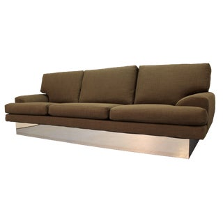Milo Baughman Thayer Coggin Chrome Base Sofa