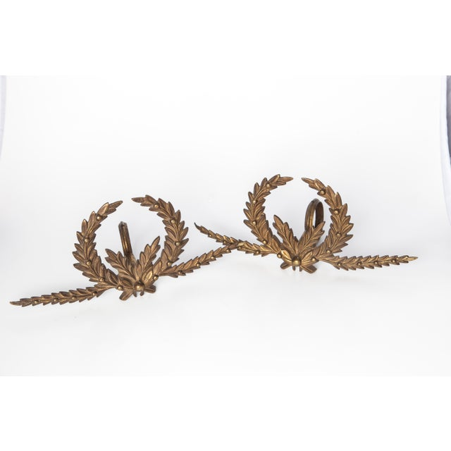 Image of Brass Drapery Rod Holders - A Pair