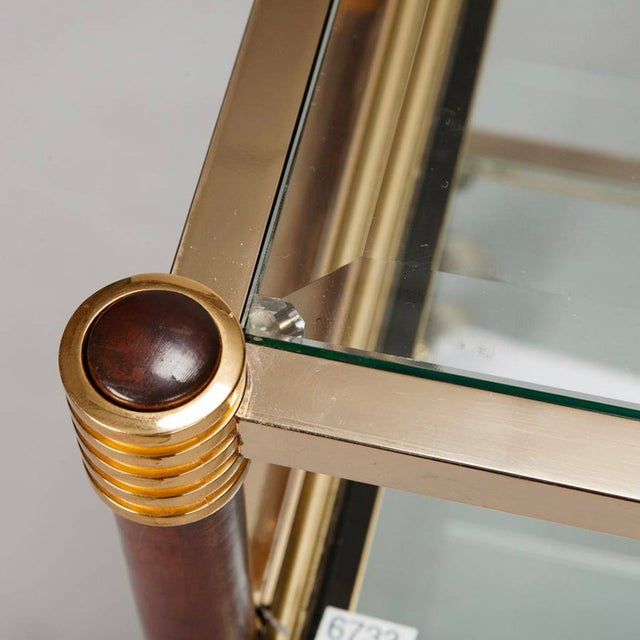 Mid-Century Italian Brass Glass and Polished Wood Trolley Table or Bar Cart - Image 8 of 8