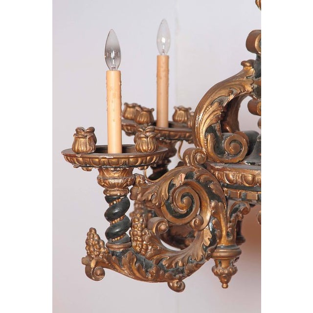 Italian Carved Wood Chandelier - Image 7 of 9