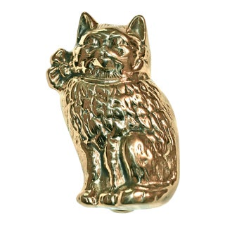 Cat Wearing Bow Brass Door Knocker