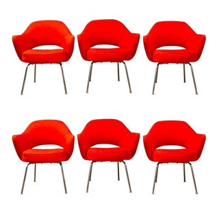 Saarinen for Knoll Executive Arm Chairs in Orange Woven-Microfiber - Set of 6