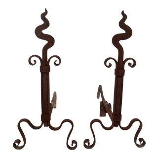 Pair of Arts and Crafts Period Wrought Iron Squiggly Andirons