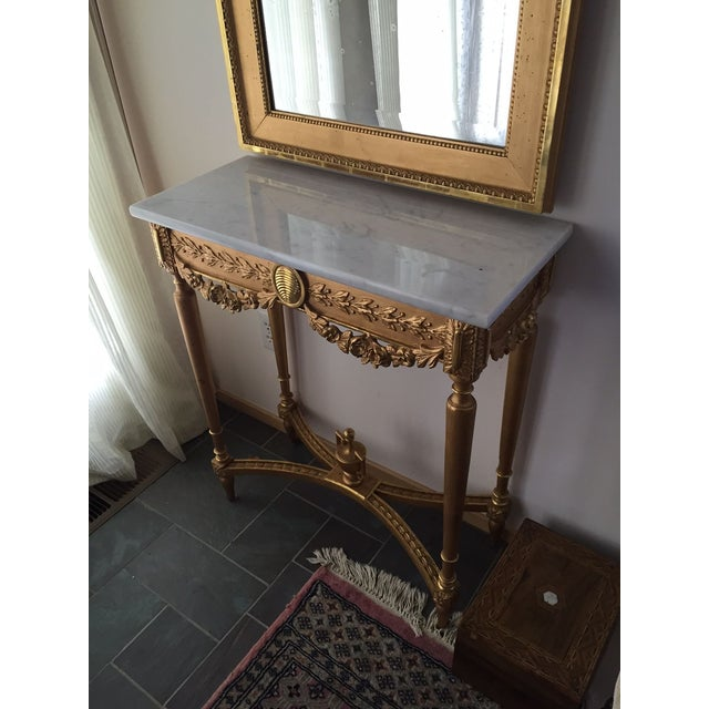 1915 Antique Guilt Wall Mirror & Console Table Set - Image 4 of 11