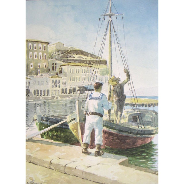 Signed Painting - Island Harbor Greece - Image 2 of 4