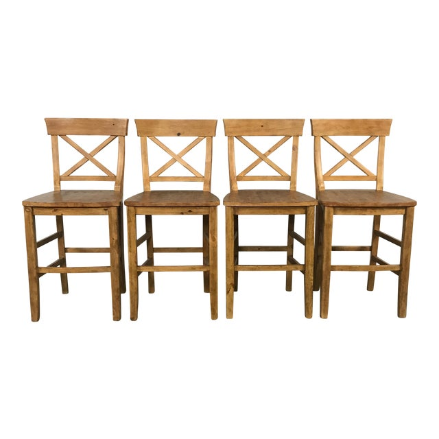 Image of Rustic Pottery Barn Bar Stools - Set of 4