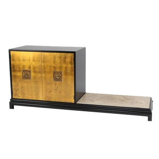 RENZO RUTILI CABINET WITH BENCH IN GILT, BLACK LACQUER AND TRAVERTINE
