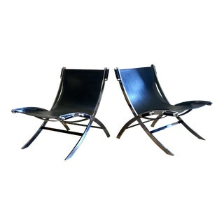Paul Tuttle Chromed Steel & Leather Sling Chairs - A Pair