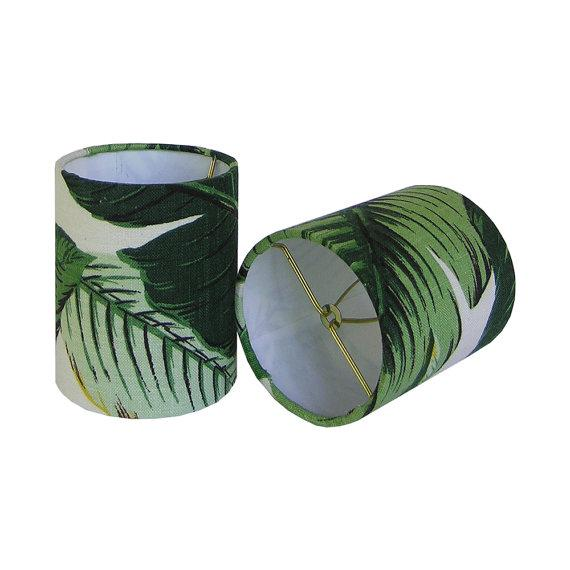 Tommy Bahama Palm Drum Chandelier Sconce Shades - A Pair - Image 2 of 2