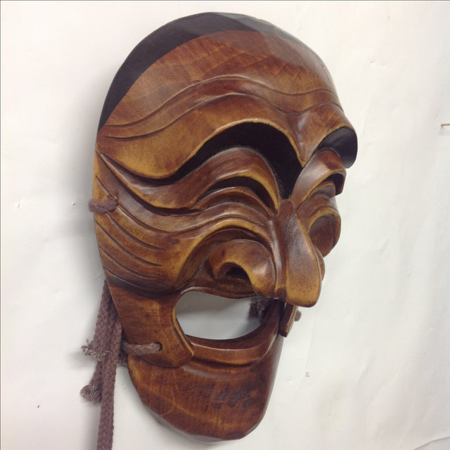 Vintage Japanese Carved Boxwood Theatre Mask - Image 3 of 6