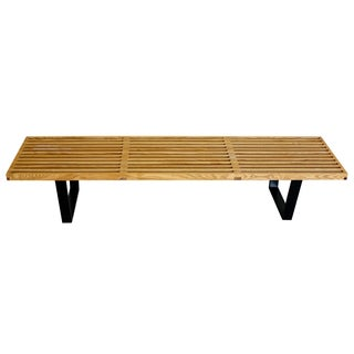 George Nelson Style Slatted Platform Wood Bench