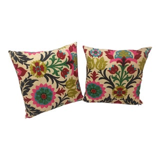 Handmade Multicolored Floral Pillows - A Pair