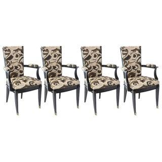 Set of Six Art Deco Ebony de Macassar Chairs, Attributed to Poillerat