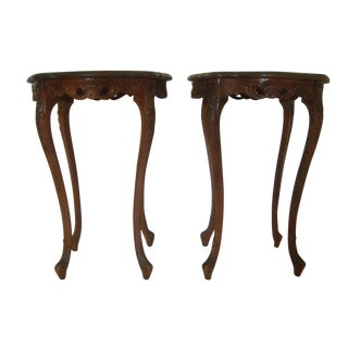 French Style Marquetry Lamp Side Tables - Pair