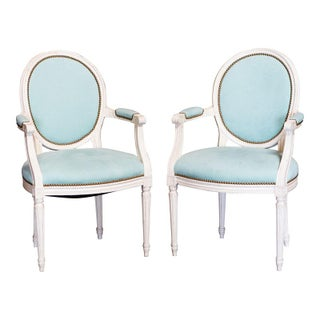 Louis XVI Arm Chairs with Teal Upholstery - A Pair