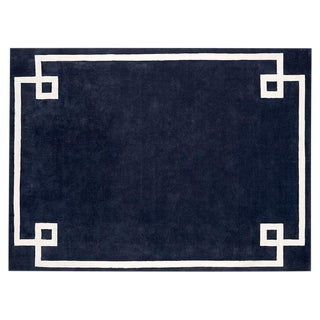 Navy & White Hotel Bordered Wool Rug – 9' X 12'