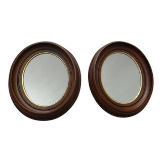 Victorian Walnut Wall Mirror - A Pair